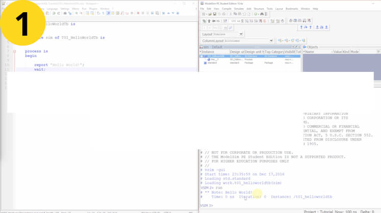 Your first VHDL program: Hello World!