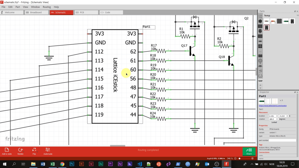 Schematic of the dot matrix circuit from the Fritzing software