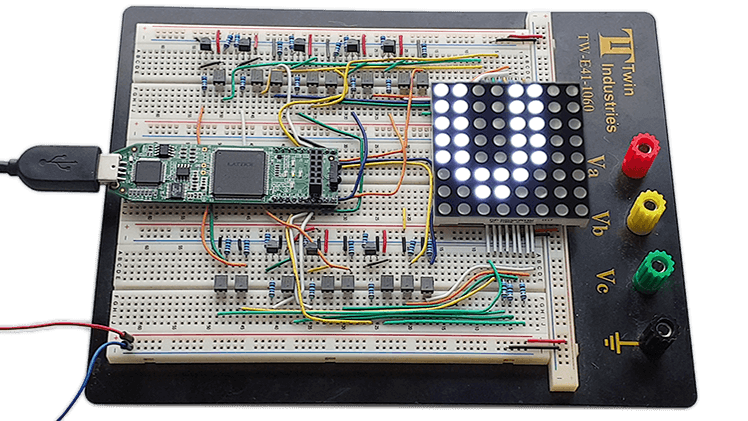 Dot Matrix Course breadboard with Lattice iCEstick FPGA and LED display