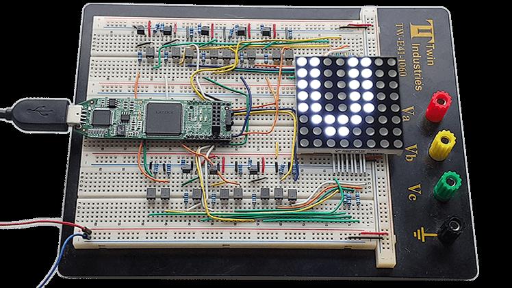 Dot Matrix Course breadboard with Lattice iCEstick FPGA and LED display