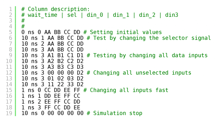 Code listing showing content of stimulus file