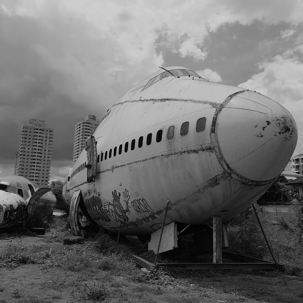 Decommissioned Boeing 747 in grayscale
