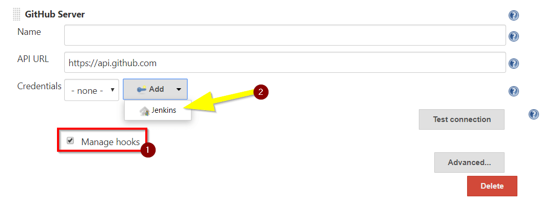 Manage GitHub hooks and add credentials in Jenkins
