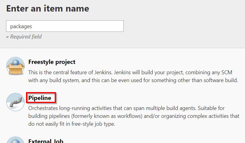 New pipeline job in Jenkins
