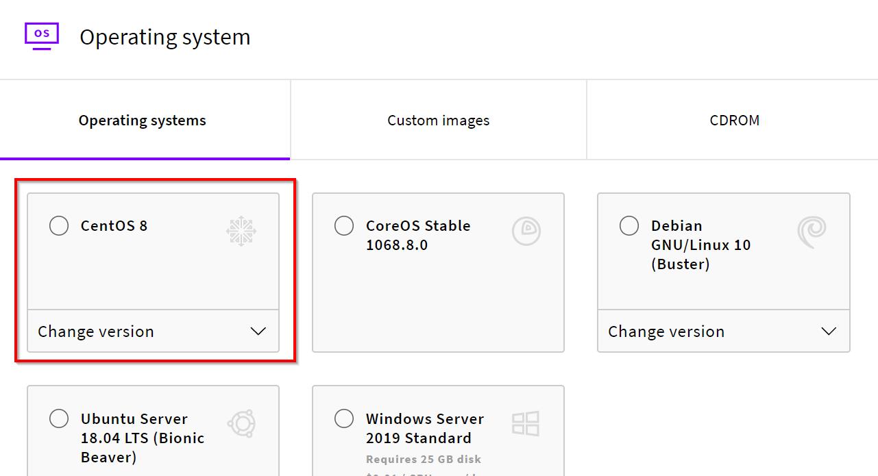 UpCloud select CentOS operating system