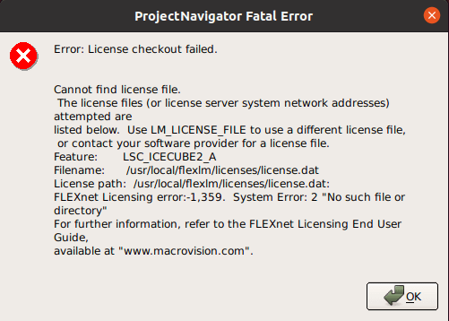 iCEcube2 Error: License checkout failed. Use LM_LICENSE_FILE to use a different license file Feature: LSC_ICECUBE2_A Filename: /usr/local/flexlm/licenses/license.dat