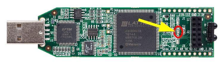 The power-on LED on the Lattice iCEstick FPGA development board
