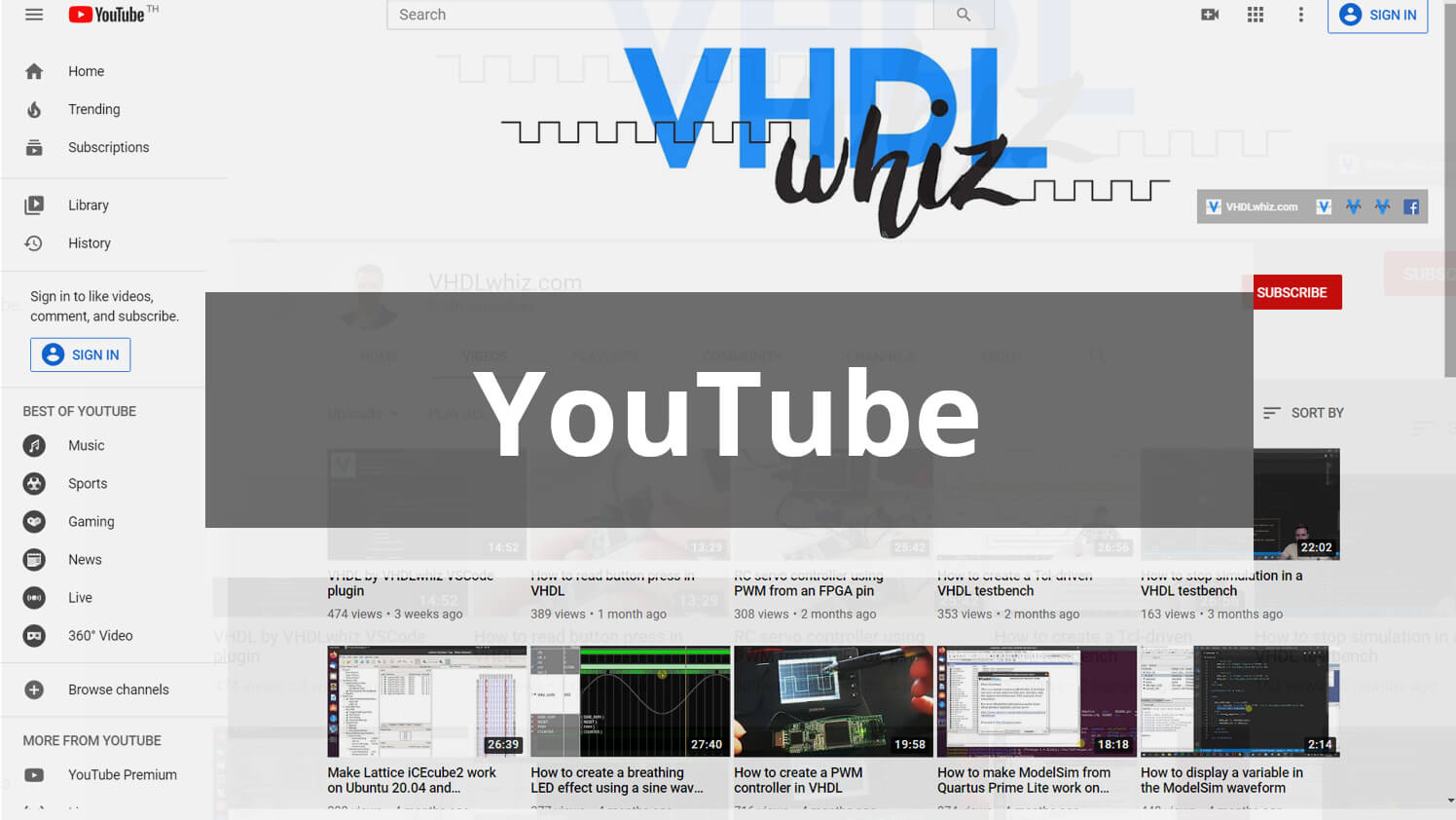 VHDLwhiz on YouTube