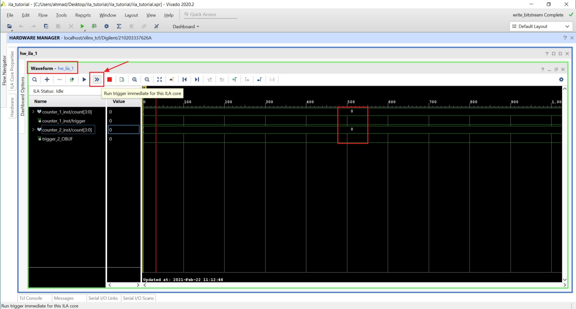 Signal transition in the Vivado ILA waveform