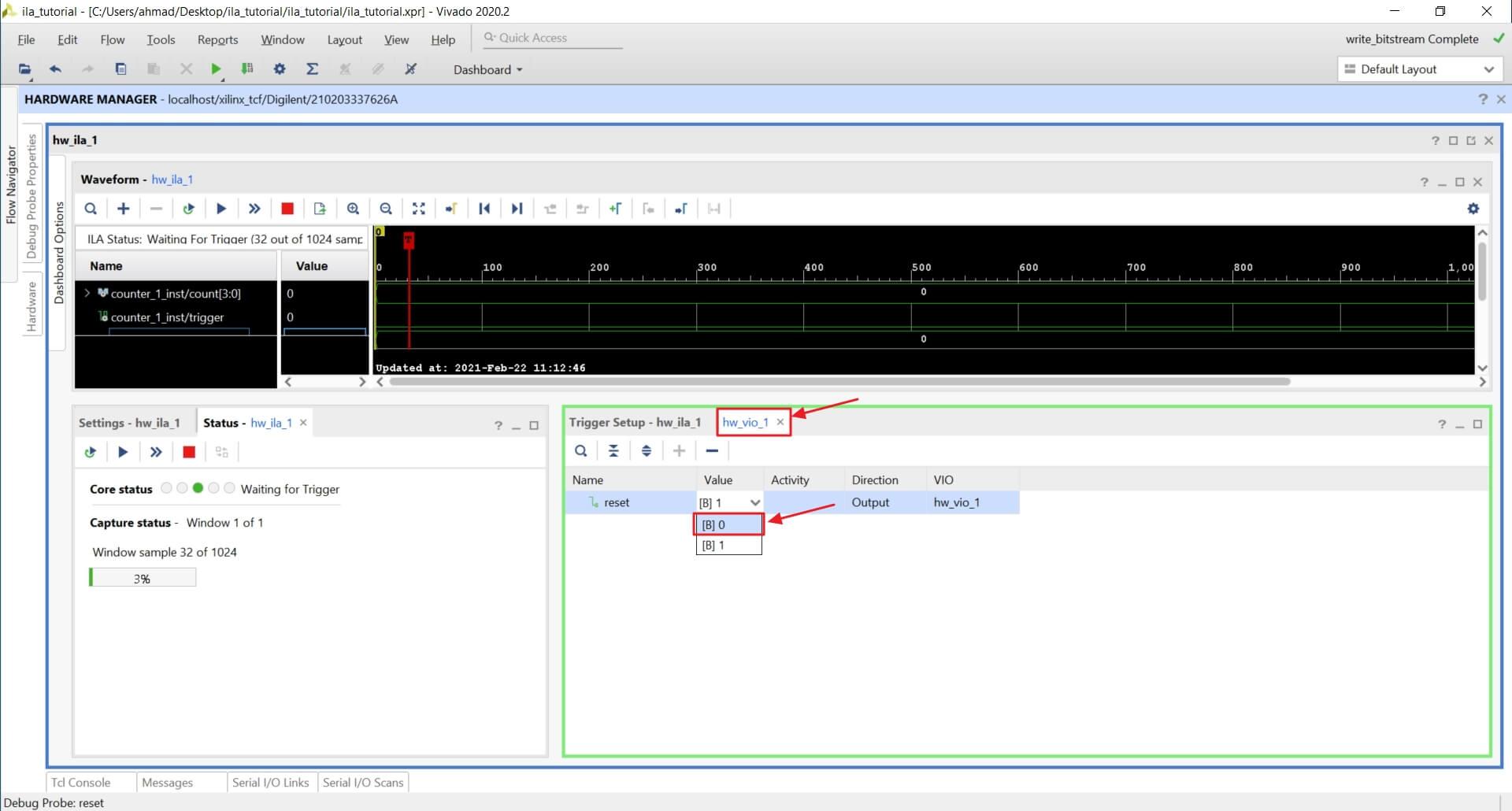 Change value of the reset VIO signal