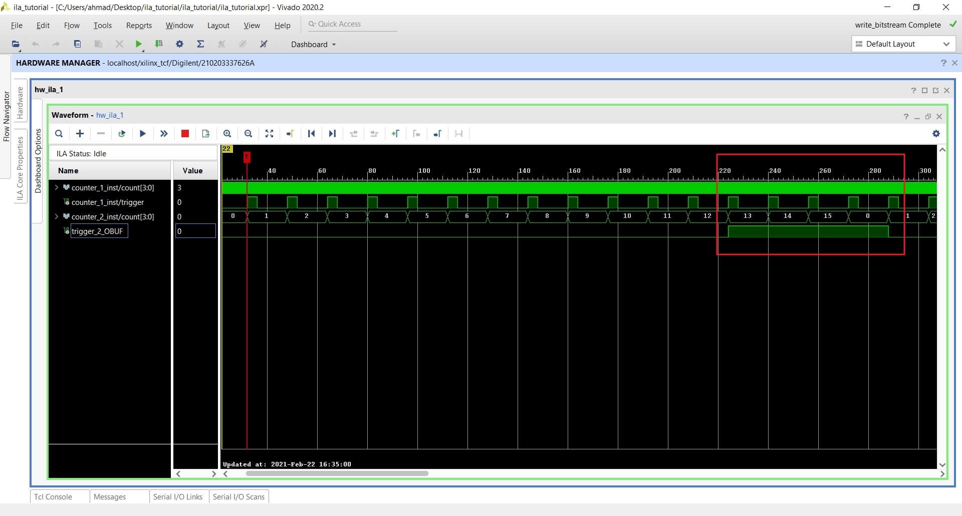Vivado waveform showing recorded ILA data