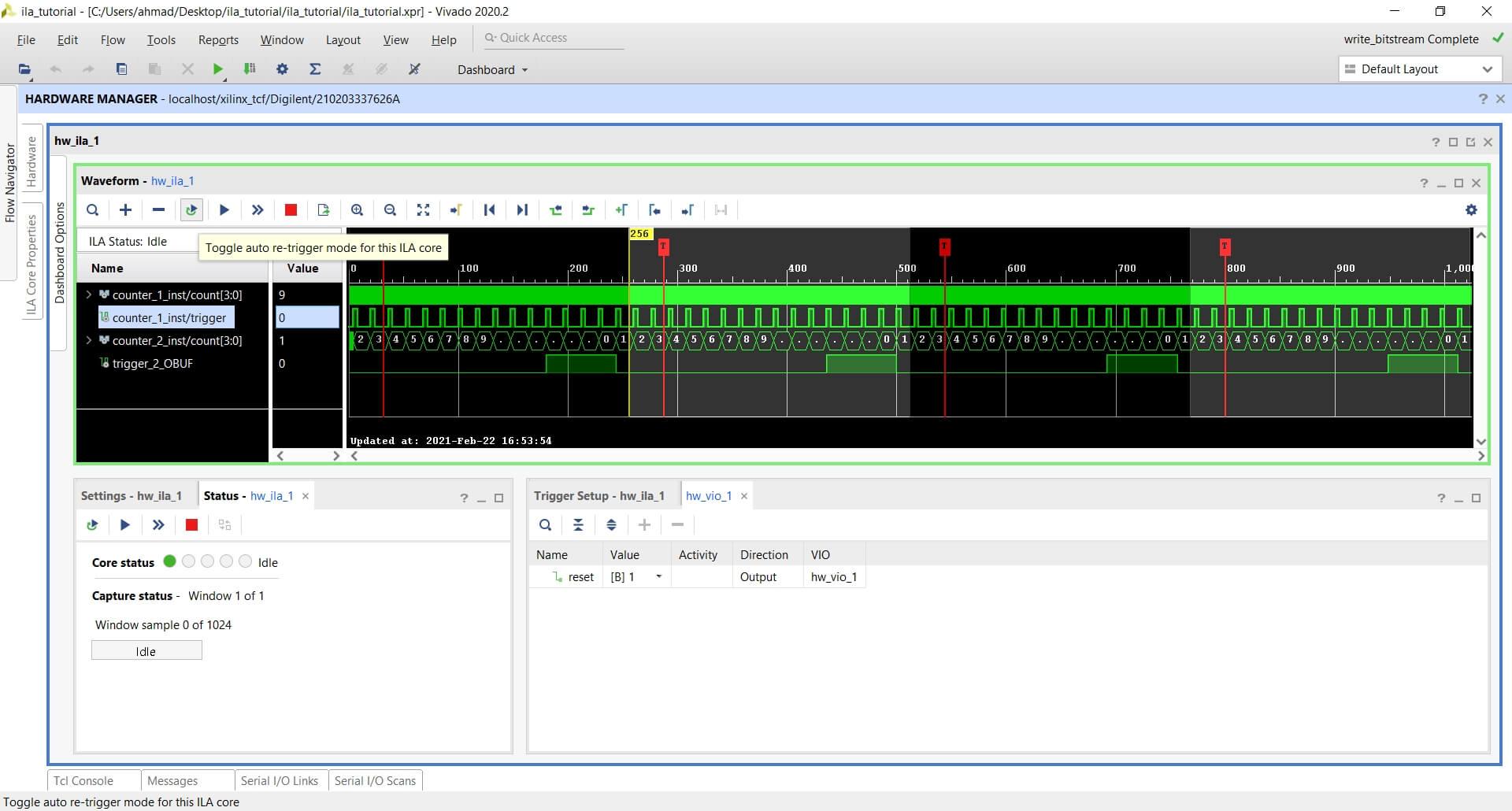 Toggle auto re-trigger mode for this ILA core