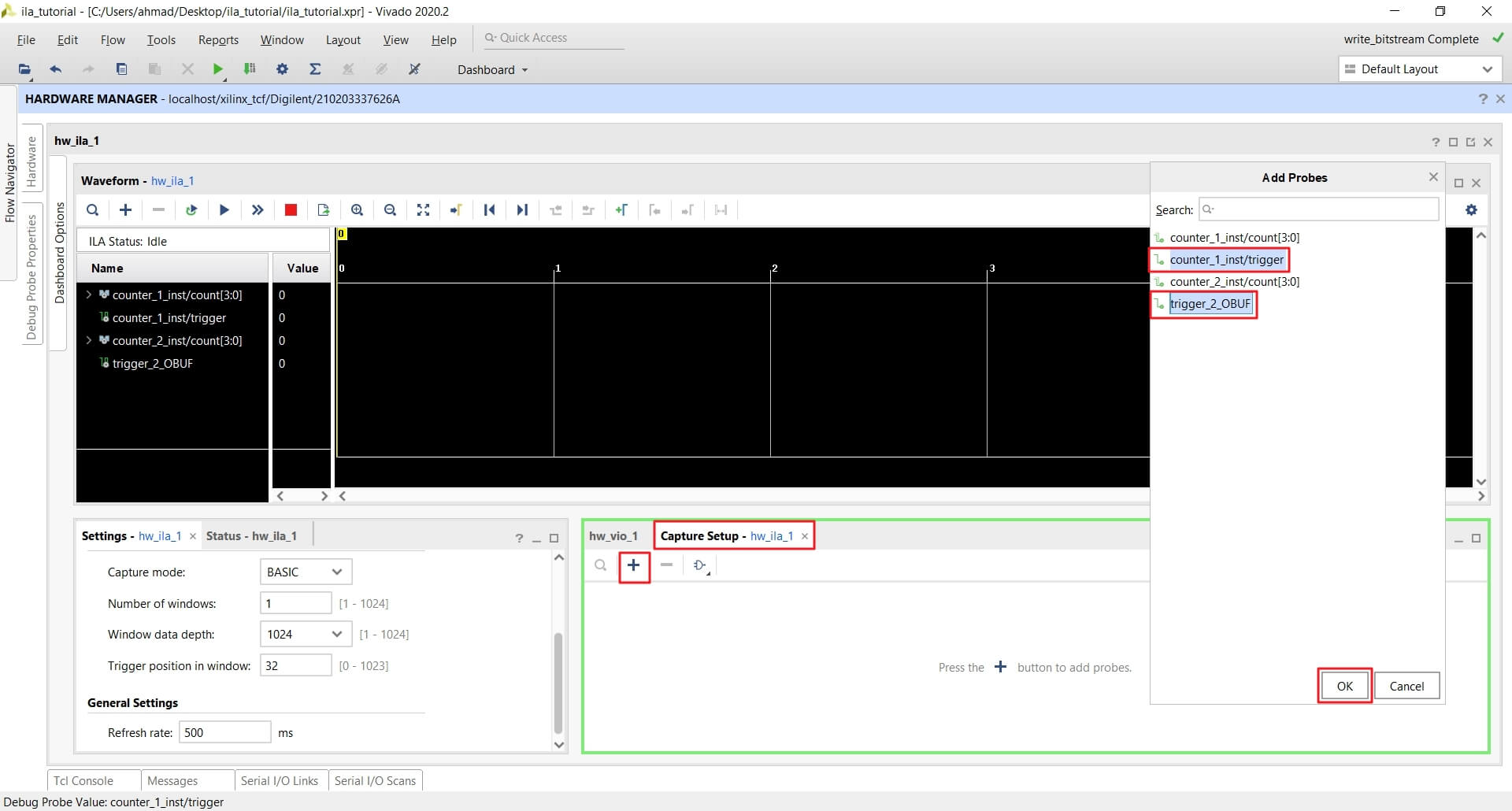 Add trigger and trigger_2 signals to ILA