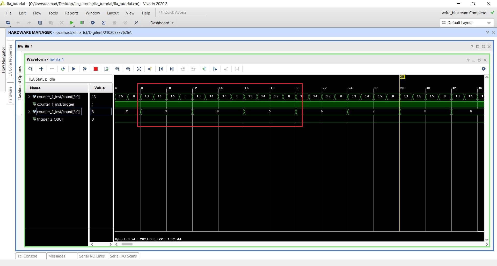 Filtered ILA samples using Capture mode in vivado