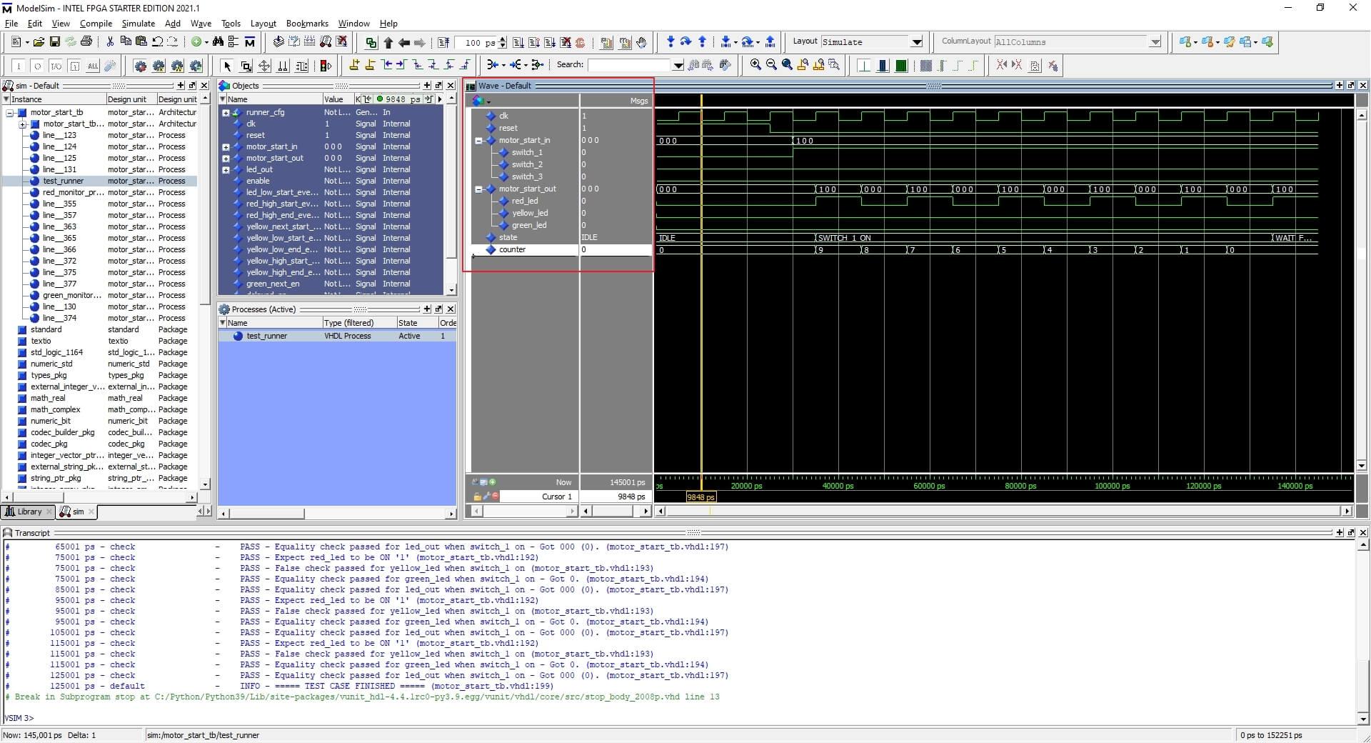 Waveform and VUnit printout showing in ModelSim
