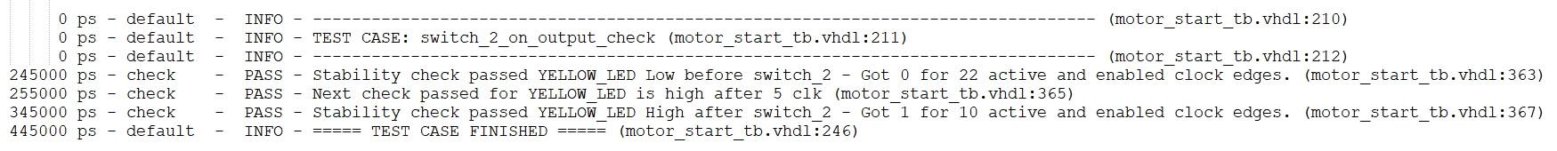 Output from VUnit test case
