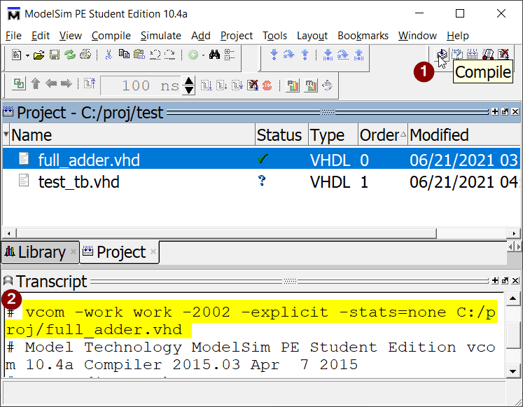 Clicking the Compile button in ModelSim