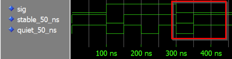 ModelSim waveform showing VHDL 'stable and 'quiet attributes at 300 ns